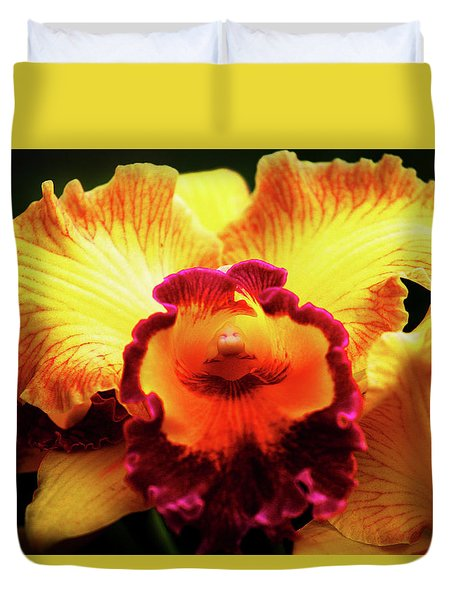 Yellow-purple Orchid Duvet Cover