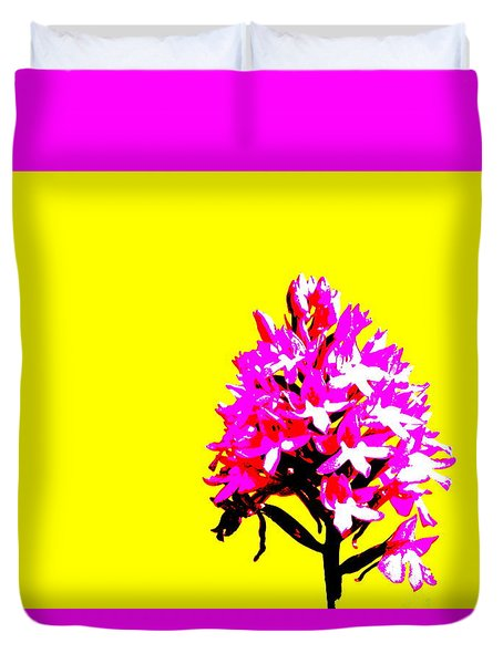 Yellow Pyramid Orchid Duvet Cover