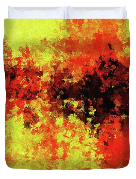 Duvet Cover featuring the painting Yellow, Red And Black by Ayse Deniz