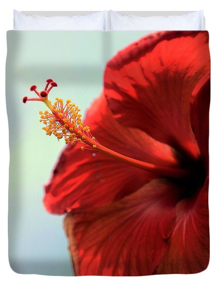 Yellow Red And Coral Hibiscus Profile Duvet Cover