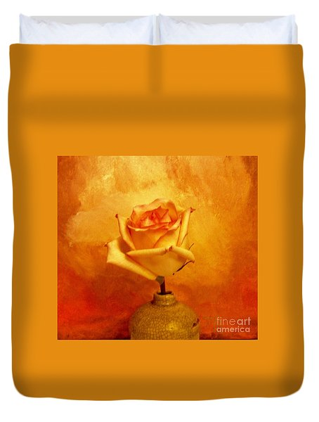 Duvet Cover featuring the photograph Yellow Red Orange Tipped Rose by Marsha Heiken