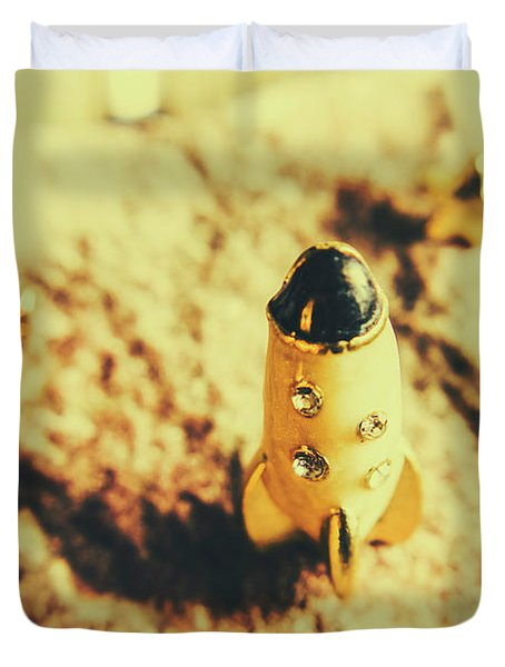 Yellow Rocket On Planetoid Exploration Duvet Cover