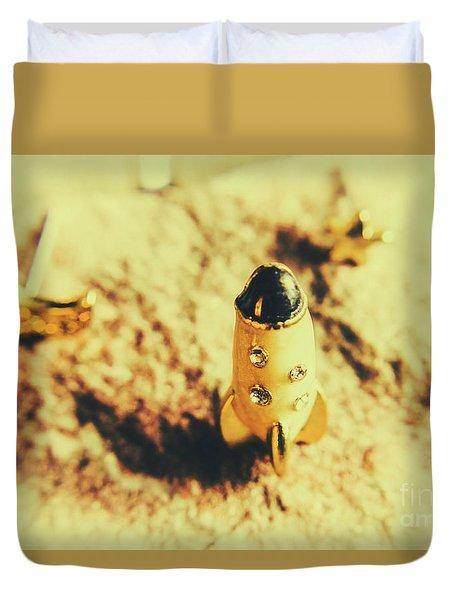 Yellow Rocket On Planetoid Exploration Duvet Cover