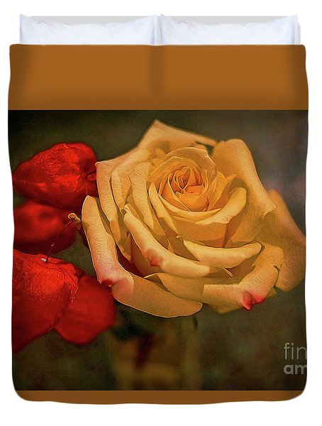 Duvet Cover featuring the photograph Yellow Rose And Chinese Lanterns by Diana Mary Sharpton