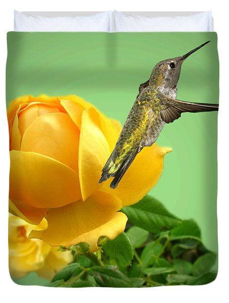 Yellow Rose And Hummingbird 2 Duvet Cover by Joyce Dickens