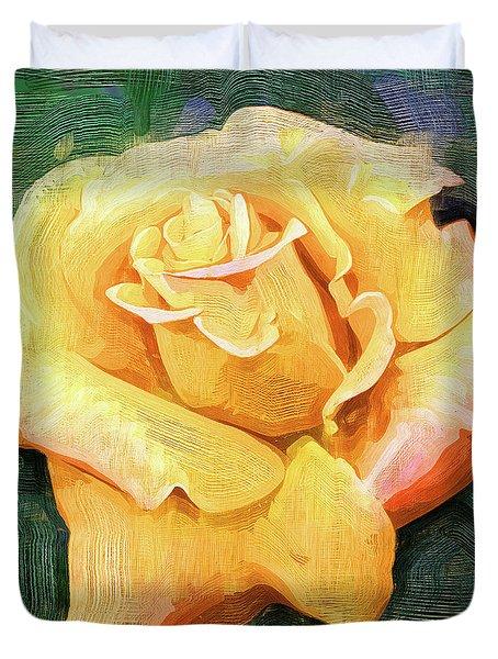 Yellow Rose Bloom In Oil Duvet Cover