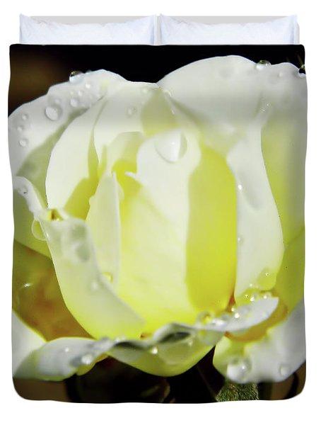 Yellow Rose Dew Drops Duvet Cover