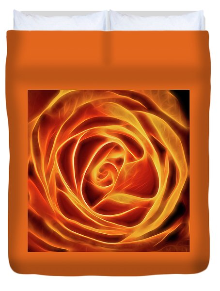 Yellow Rose Glow Square Duvet Cover by Terry DeLuco