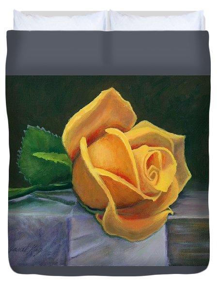 Duvet Cover featuring the painting Yellow Rose by Janet King