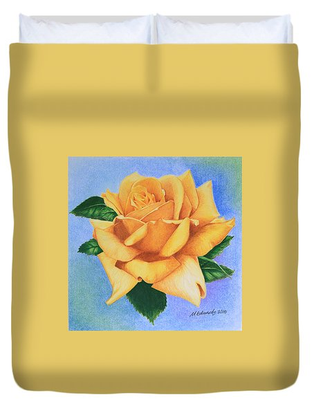 Duvet Cover featuring the drawing Yellow Rose by Marna Edwards Flavell