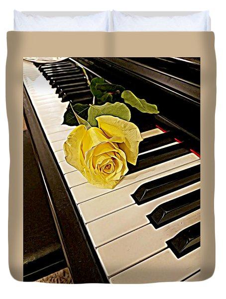 Yellow Rose On Piano Keys Duvet Cover