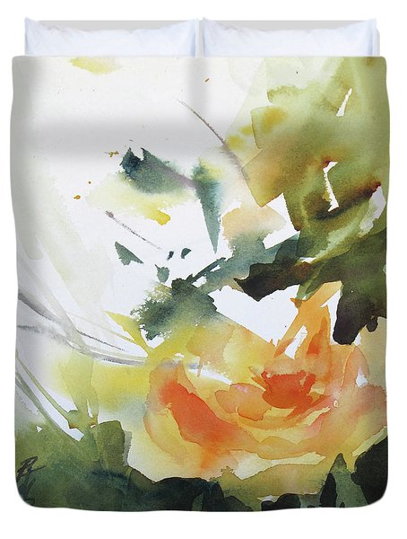 Yellow Rose Duvet Cover by Rae Andrews