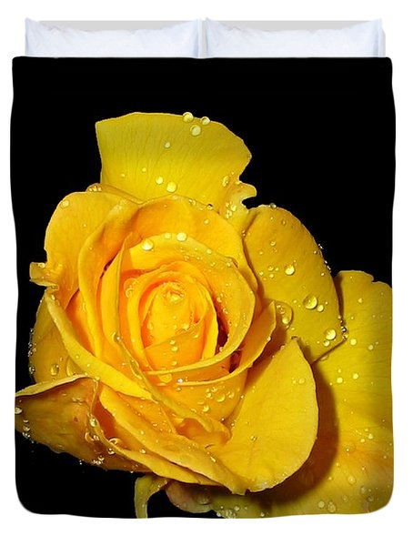 Yellow Rose With Dew Drops Duvet Cover