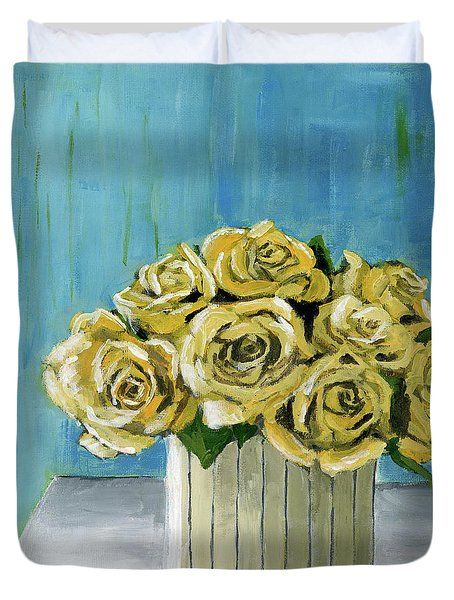 Yellow Roses In Vase Duvet Cover