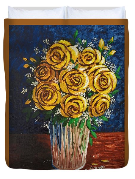 Duvet Cover featuring the painting Yellow Roses by Katherine Young-Beck