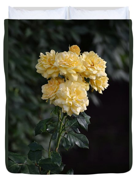Duvet Cover featuring the photograph Yellow Roses by Mark McReynolds