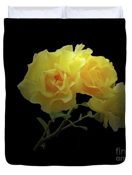 Yellow Roses On Black Duvet Cover