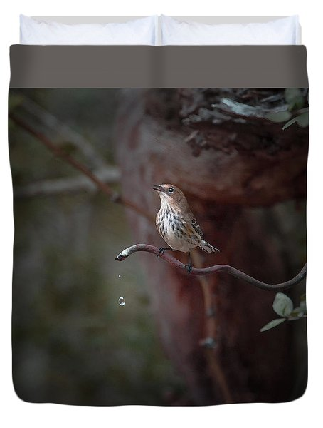 Yellow-rumped Warbler At Water Spout Duvet Cover