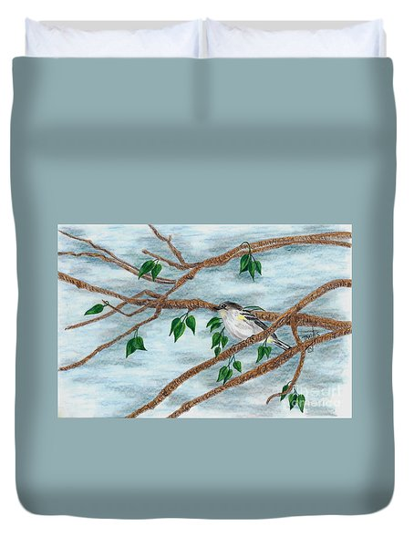 Yellow Rumped Warbler Duvet Cover