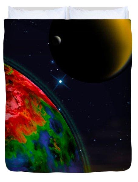 Yellow Sea On Kepler 186d Duvet Cover