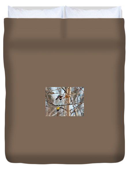 Yellow-shafted Northern Flicker Staying Warm Duvet Cover
