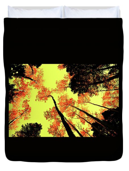 Duvet Cover featuring the photograph Yellow Sky, Burning Leaves by Kevin Munro