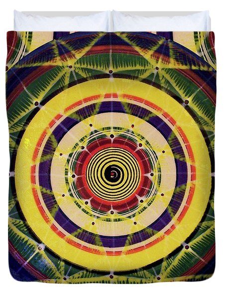 Duvet Cover featuring the painting Yellow Spiral by Kym Nicolas
