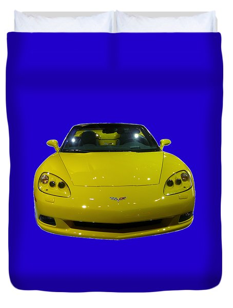 Yellow Sports Car Front Duvet Cover