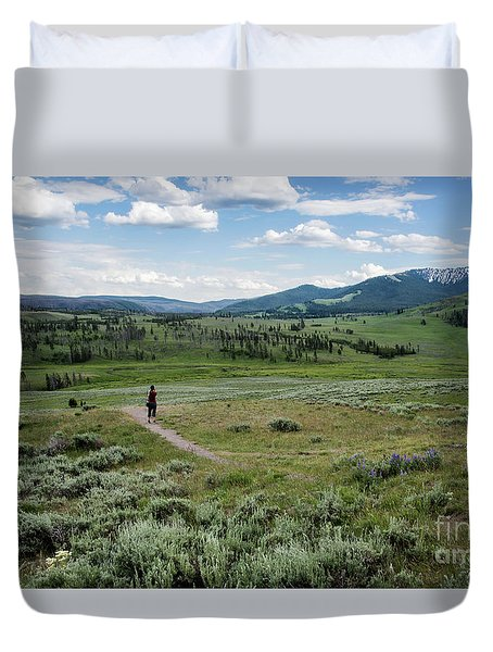 Duvet Cover featuring the photograph Yellow Stone Mountains by Mae Wertz