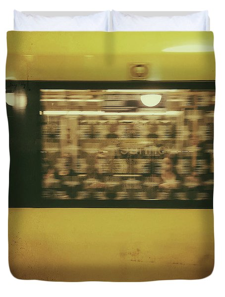 Duvet Cover featuring the photograph Yellow Subway Train by Ivy Ho