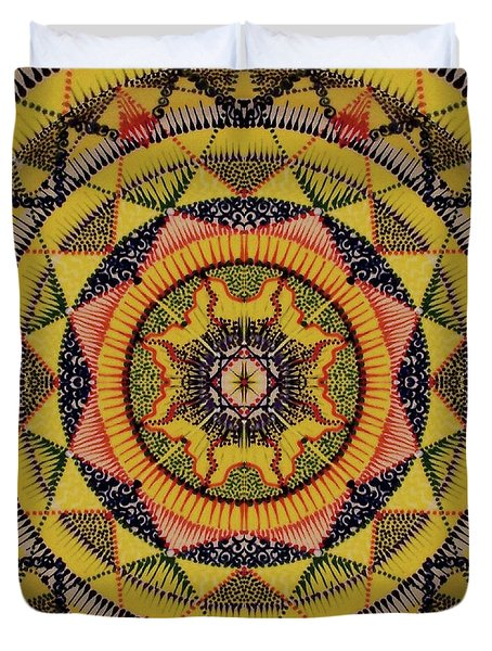 Duvet Cover featuring the painting Yellow Sun by Kym Nicolas