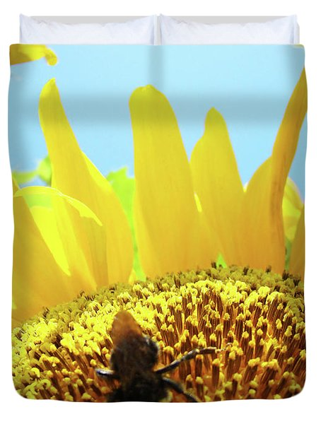 Yellow Sunflower Art Prints Bumble Bee Baslee Troutman Duvet Cover by Baslee Troutman