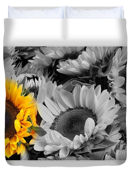 Yellow Sunflower On Black And White Duvet Cover by Dora Sofia Caputo Photographic Art and Design