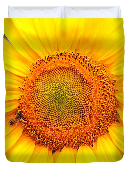 Yellow Sunflower With Bee Duvet Cover by Amy Fose