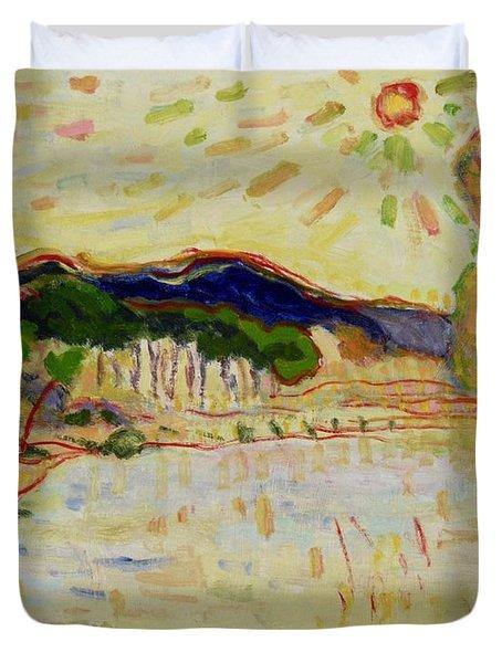 Beynac Et Cazenac , Dordogne , Yellow Sunshine  Duvet Cover