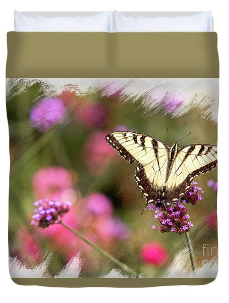 Yellow Swallowtail With Brushed Edge Duvet Cover