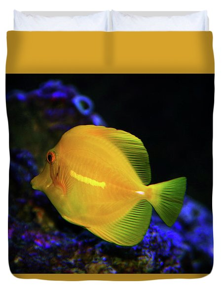Duvet Cover featuring the photograph Yellow Tang by Anthony Jones