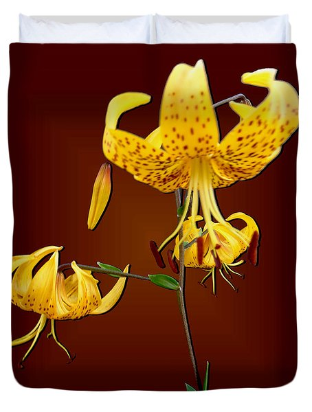 Yellow Tiger Lilies Duvet Cover by Tara Hutton