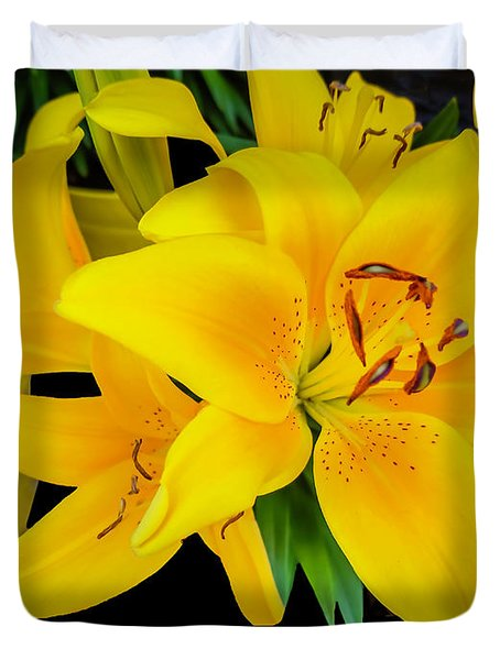 Yellow Tiger Lily In The Spring Duvet Cover