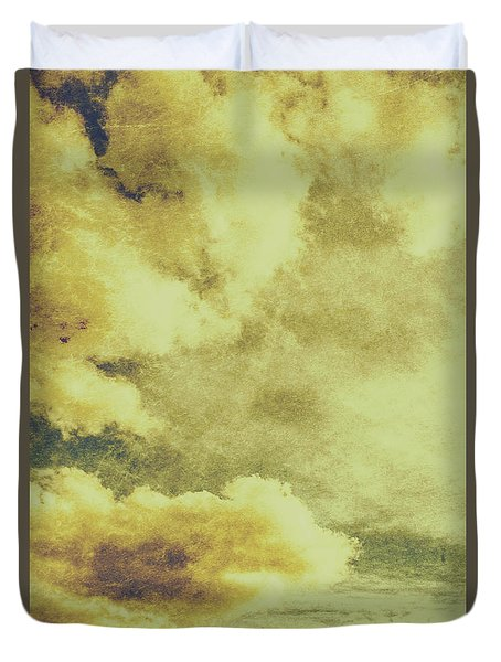 Yellow Toned Textured Grungy Cloudscape Duvet Cover