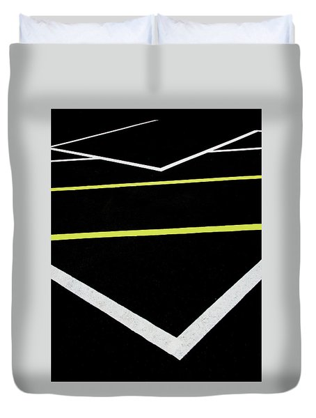 Yellow Traffic Lines In The Middle Duvet Cover