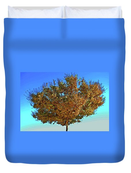 Yellow Tree Blue Sky Duvet Cover