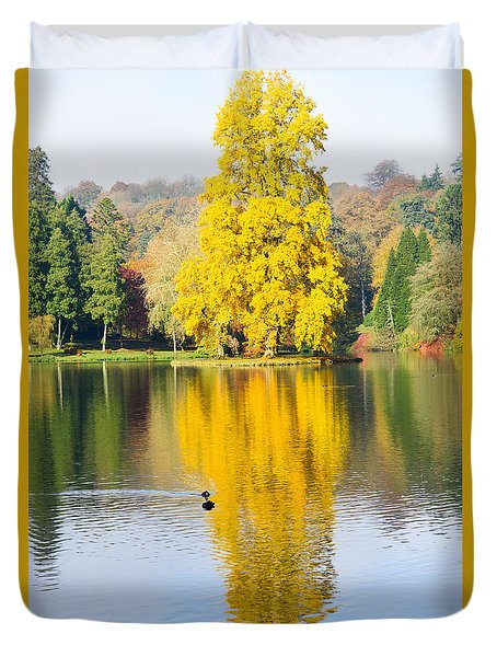 Yellow Tree Reflection Duvet Cover