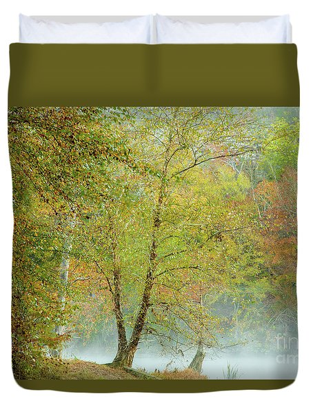 Yellow Trees Duvet Cover by Iris Greenwell