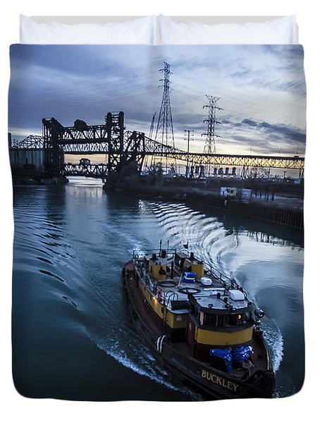 Yellow Tug Boat Approaching  Duvet Cover