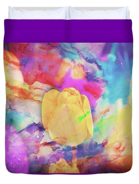 Yellow Tulip Duvet Cover by Toni Hopper