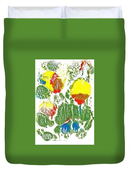 Duvet Cover featuring the painting Yellow Tulips 2 by Asha Sudhaker Shenoy