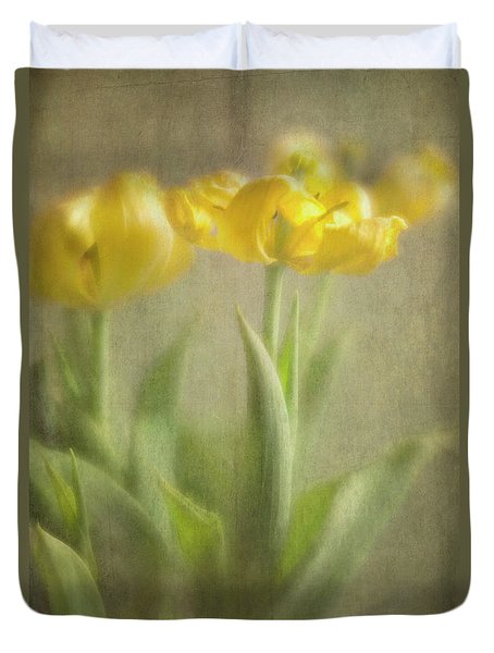 Duvet Cover featuring the photograph Yellow Tulips by Elena Nosyreva