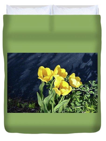 Duvet Cover featuring the photograph Yellow Tulips by Kathleen Stephens