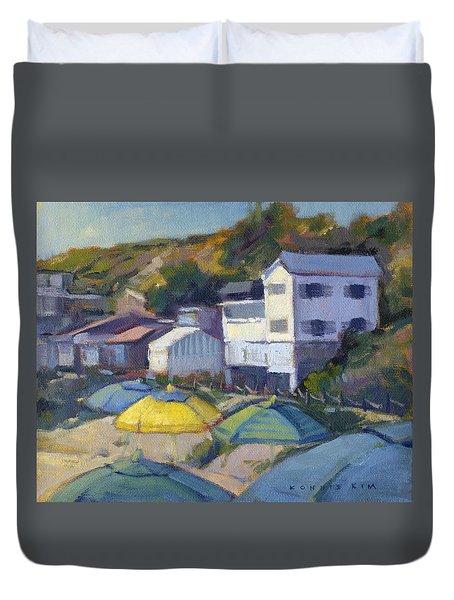 Yellow Umbrella / Crystal Cove Duvet Cover